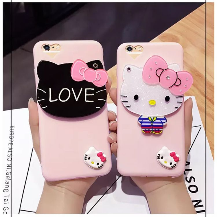 35bd55a3148ffc Cartoon Cute Hello Kitty Cat Phone Cases For iPhone 6 7 6S / Plus Case Soft  silicon Mirror Cover For iPhone 6 5 5S Girls Coque //Price: $11.95 & FREE  ...