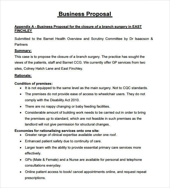 Business Proposal Format Template Inspirational Sample