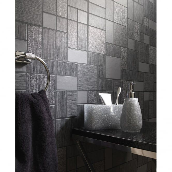 Holden Décor Tile Pattern Glitter Motif Kitchen Bathroom