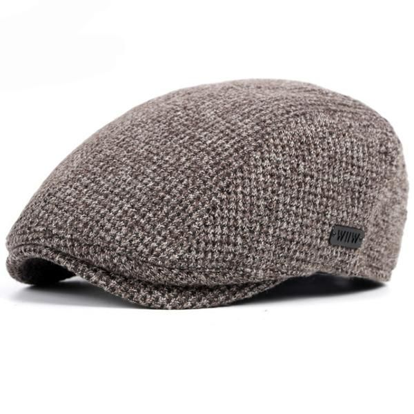 e702252485a HT1327 Black Beige Coffee Grey Cabbie Gastby Flat Ivy Cap Warm Knitted  Autumn Winter Mens Hats