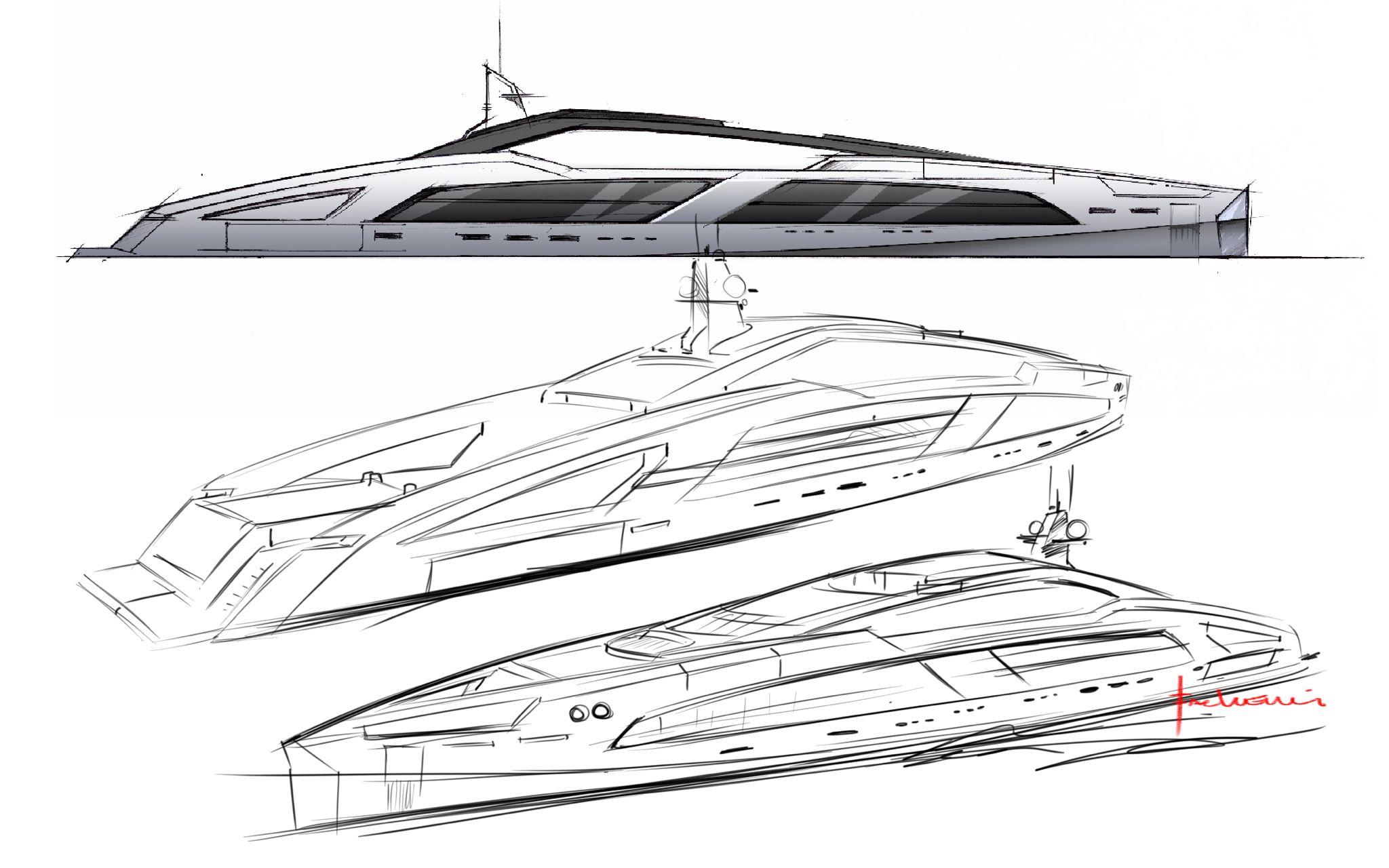 yacht design sketches [ 2048 x 1280 Pixel ]