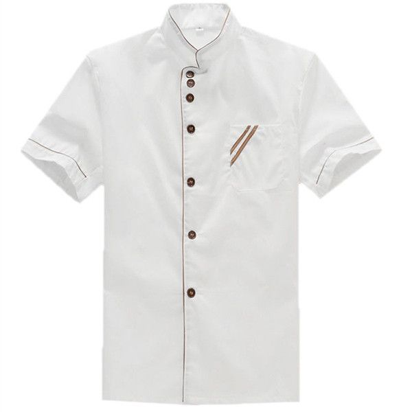 Kitchen Cooker Working Uniform Chef Waiter Waitress Coat Jacket Short Sleeve