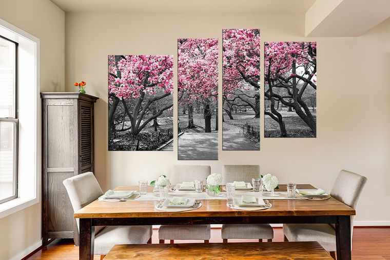 4 Piece Wall Decor Scenery Wall Art Grey Canvas Art Prints Tree Multi Panel Canvas Grey Canvas Art Wall Decor Tree Wall Art