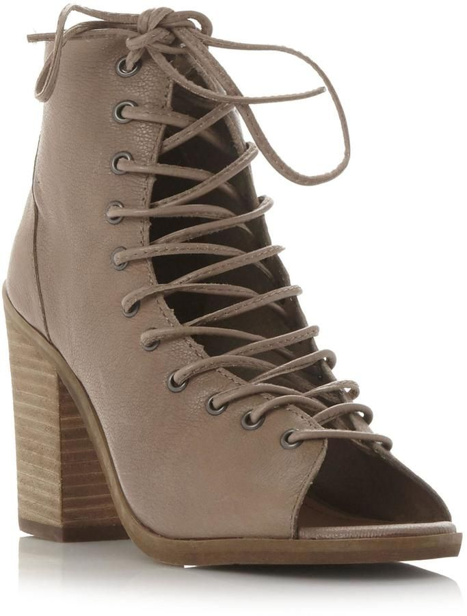 fcef313afbc Steve Madden TEMPTING SM - taupe lace up chunky heels for summer ...