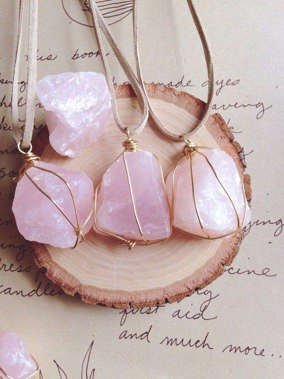 Rose Quartz Necklace - Rose Quartz - Crystal Necklace - Raw Crystal Necklace -Raw Stone Necklace - Wire Wrapped Stone - Crystal Healing