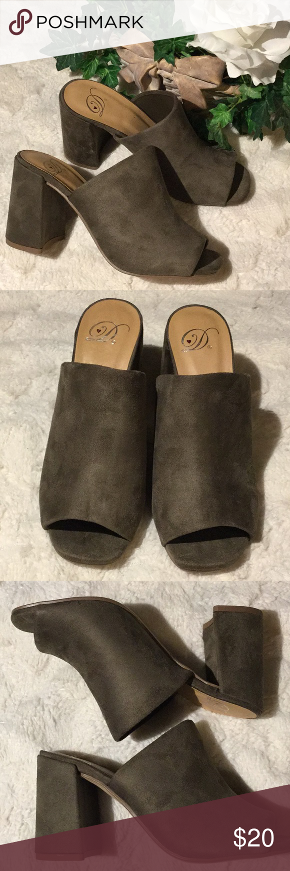 c785a1929 🆕NWOT Derek Heart Olive Faux Suede Chunky Mules New without tags or box.  Never worn. Olive Green. Peep toe