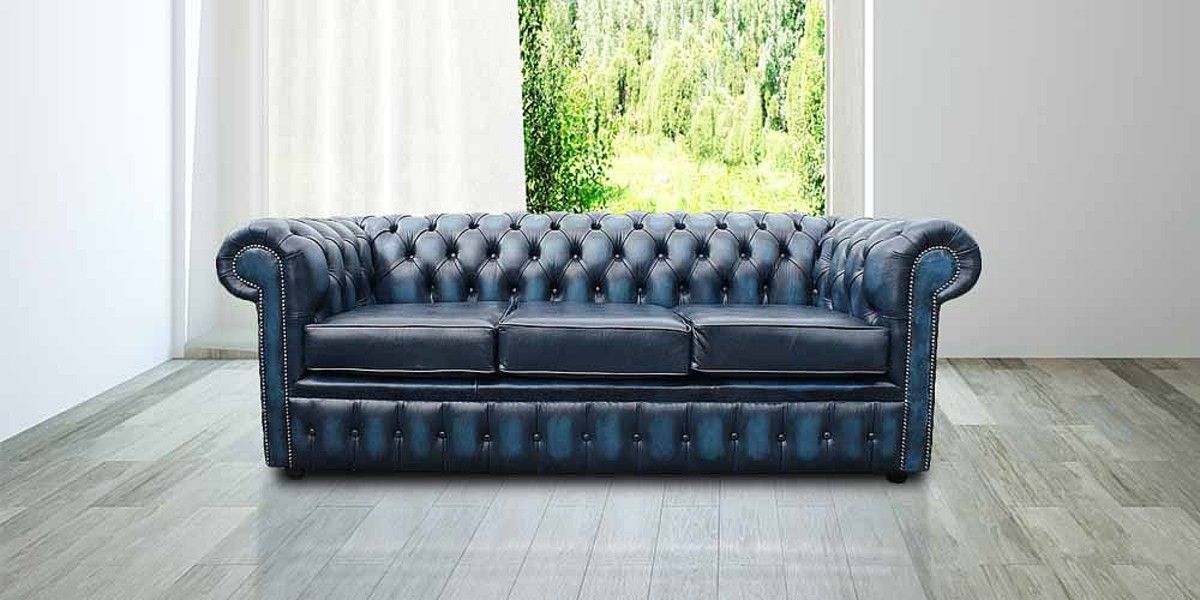 Chesterfield 3 Seater Blue Leather Antique Sofa Sofa Offers Blue Leather Sofa Blue Chesterfield Sofa Sofa Uk