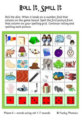 Phase 4 Roll It Spell It Phonics Preschool Phonics Phonics Games Eyfs