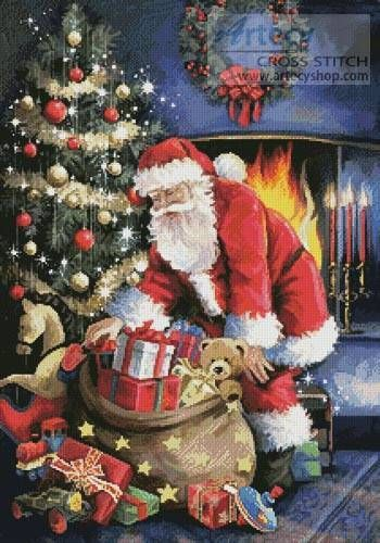 Santa at the Tree Cross Stitch Pattern