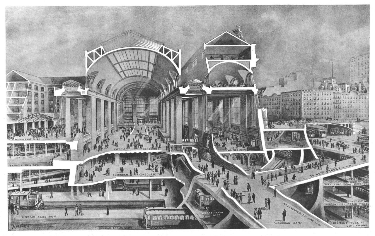 Cross Section Of The Projected Grand Central Terminal Building New York City Architecture Drawing Architecture Graphics Architecture Drawings