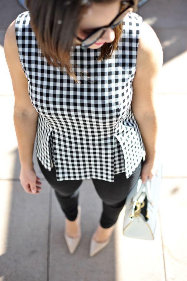 7f2a3fd1 DVF Gingham Peplum Top | Inspired Style | Fashion, Peplum, White ...