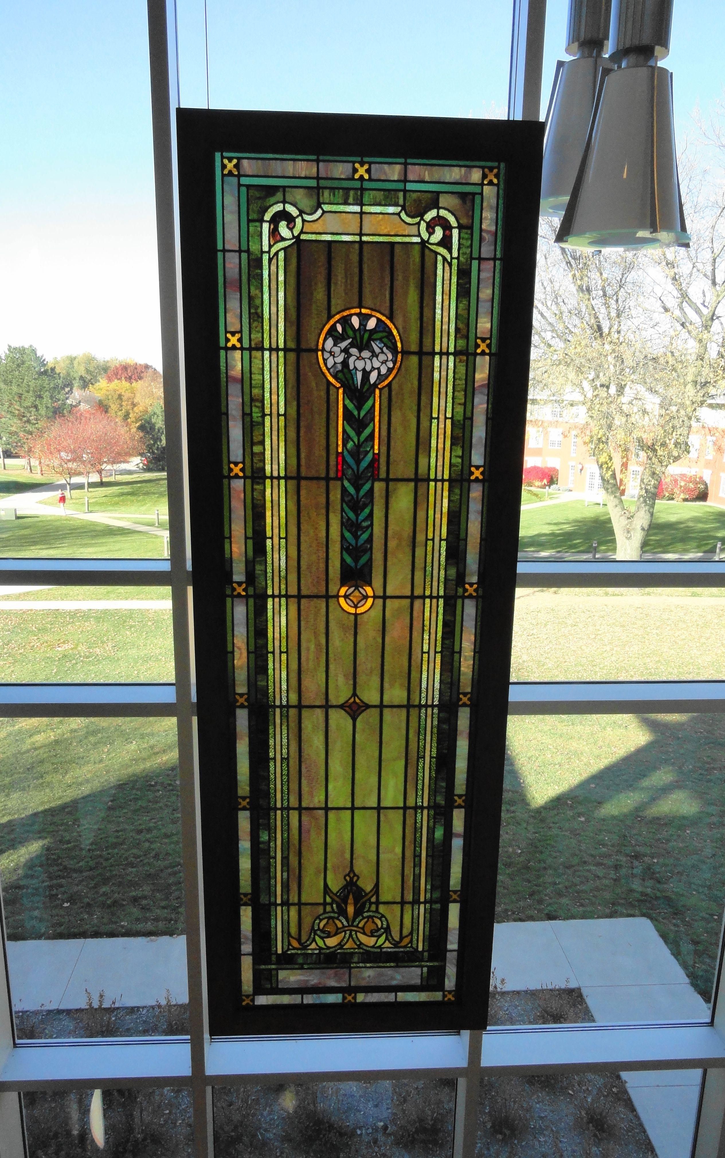 Stain glass window inside new library. Northwestern