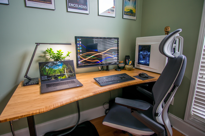 Jarvis Bamboo Battlestation Home Office Setup Simple Computer Desk Desk Setup
