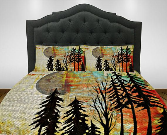 Rustic Bedding Comforter Set Or Duvet Cover Twin Full Queen King Lodge Abstract Woods Forest Rustic Comforter Sets Rustic Bedding Comforter Sets