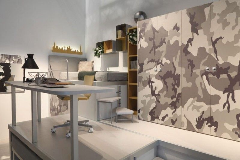 Military Camouflage Theme Bedroom Study Space Military Camouflage - küche kiefer massiv