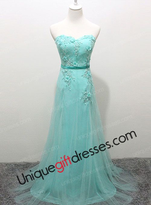 A-line/Princess Sweetheart Sweep Train Tulle Lace Evening Dresses 2015 With Lace