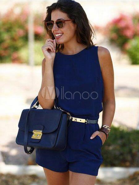 Deep Blue Romper Backless Sash Cotton Romper For Women Milanoo.com Backless  Jumpsuit, Casual 46312e8436