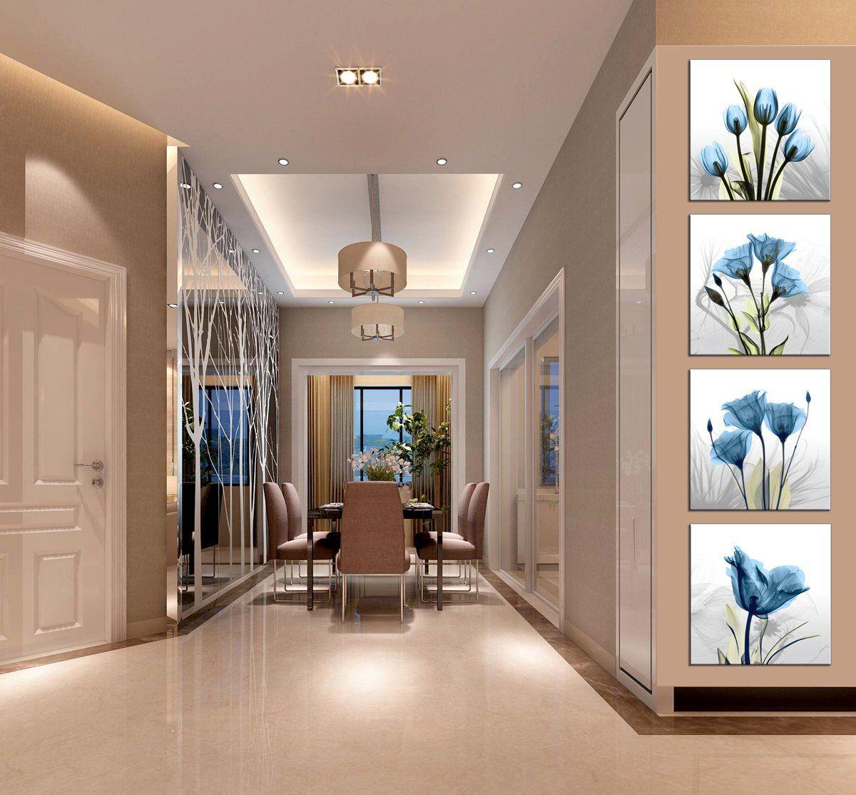 Moyedecor Art 4 Panel Elegant Tulip Flower Canvas Print