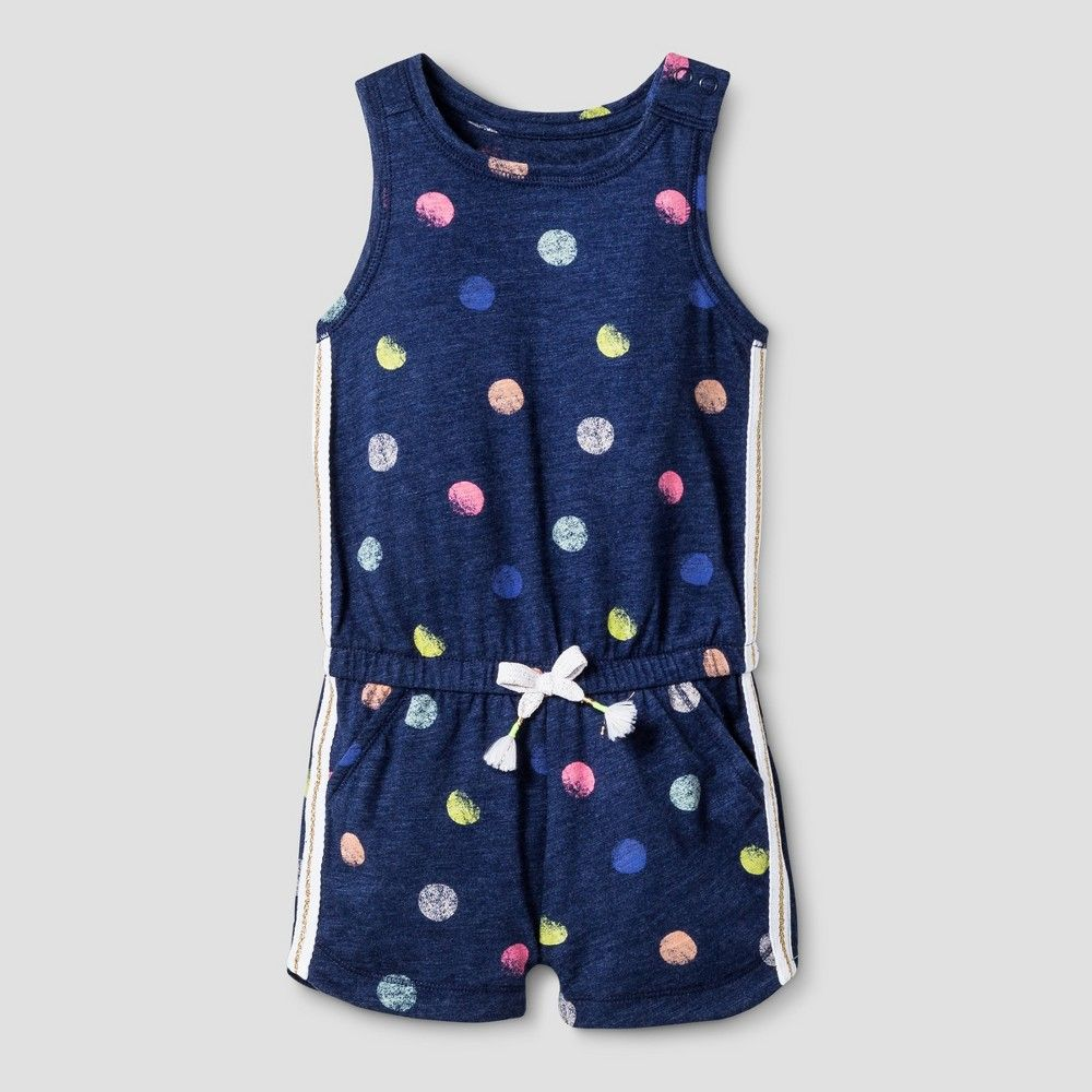 Toddler Girls' Romper Slub Jersey Cat & Jack - Nightfall Blue 18M, Toddler Girl's, Size: 18 M, Multicolored