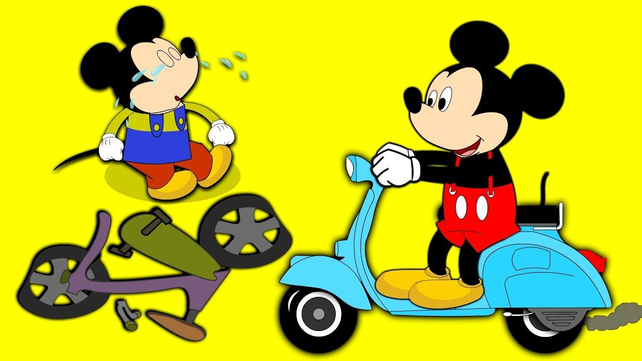 Mickey mouse crying crashed motor bike finger family nursery rhymes ...