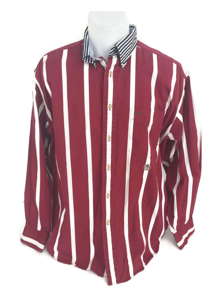 763c39434e59 Tommy Hilfiger Men's Long Sleeve Button Down Red White Striped Shirt Flag  Logo M | Clothing, Shoes & Accessories, Men's Clothing, Shirts | eBay!