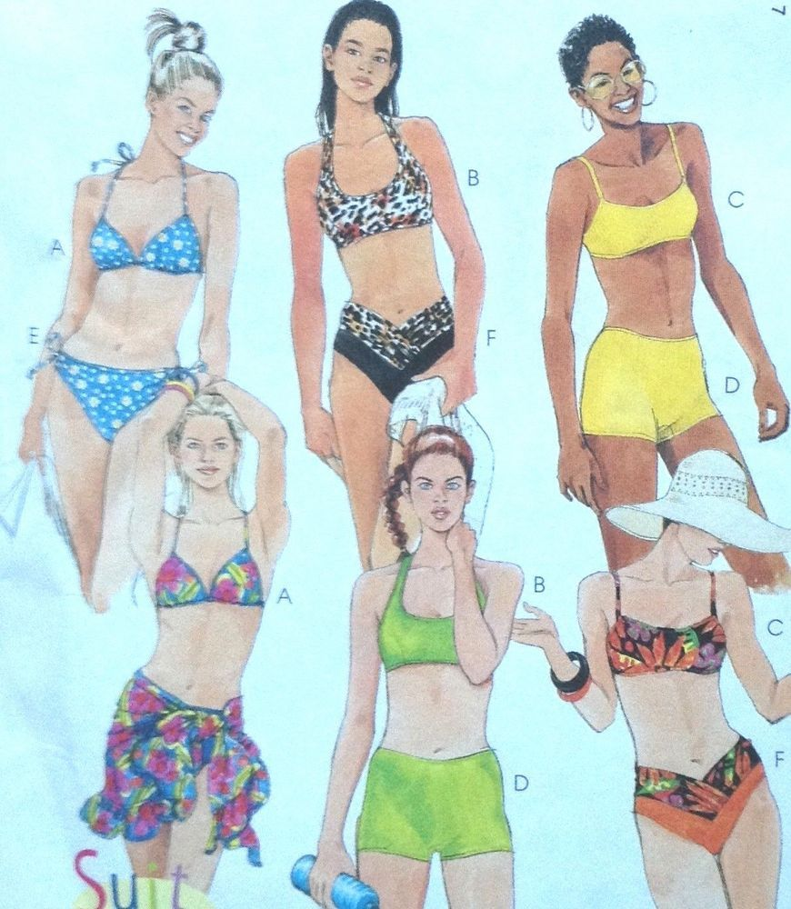 65e3a917f UC McCalls 8813 Sew Pattern Bikini Boy Shorts Sarong Bathing Suit Swimsuit  36