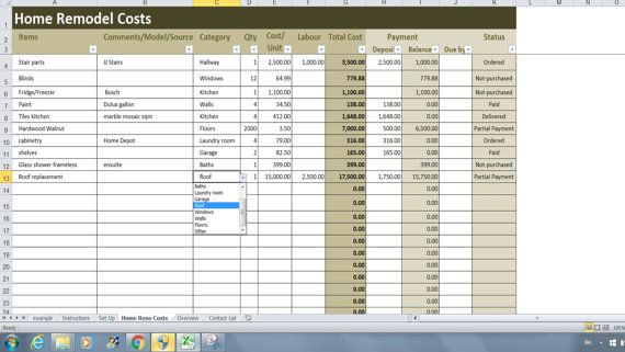 Home Renovation Costs Calculator Excel Template, Remodel Cost vs - Pricing Spreadsheet Template
