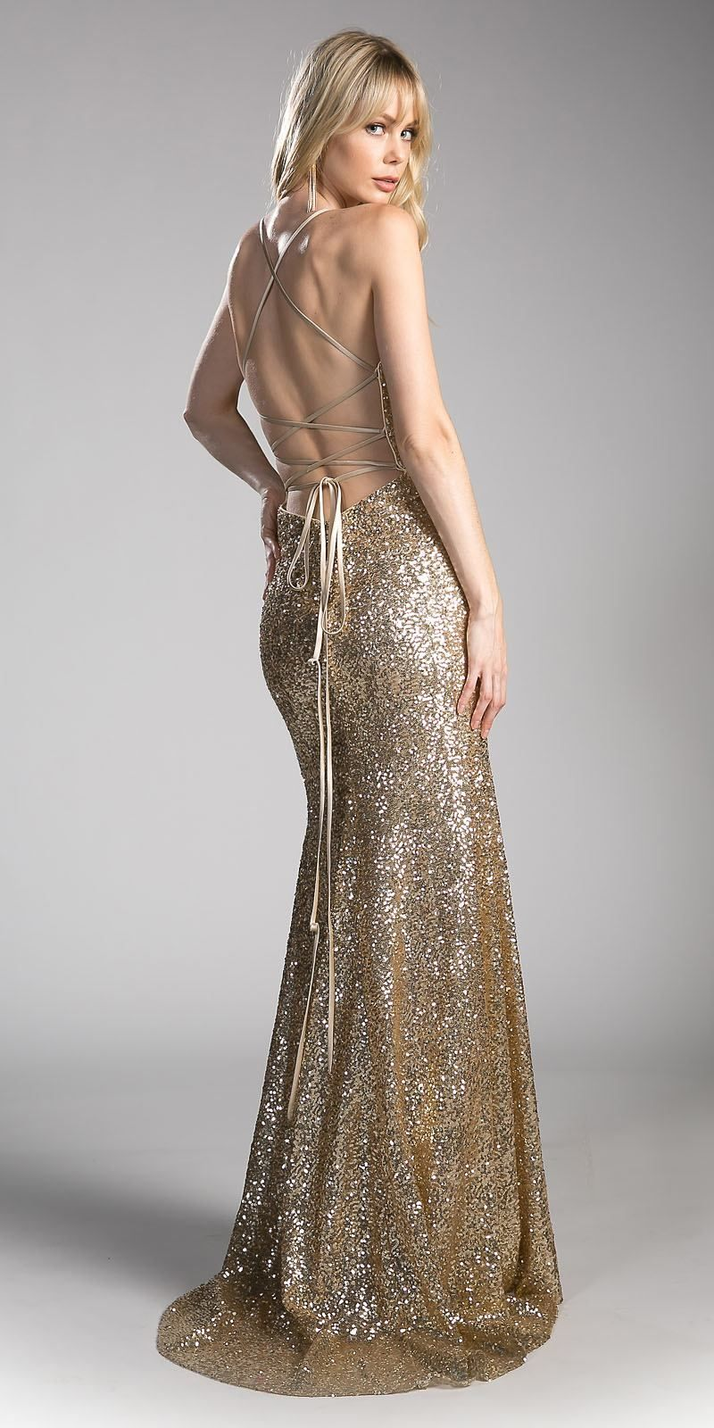 ed6820f5118 Mermaid silhouette floor length sequins dress by Cinderella Divine CJ256 in  gold. Full length dress with plunging v-shape neckline and spaghetti straps  ...