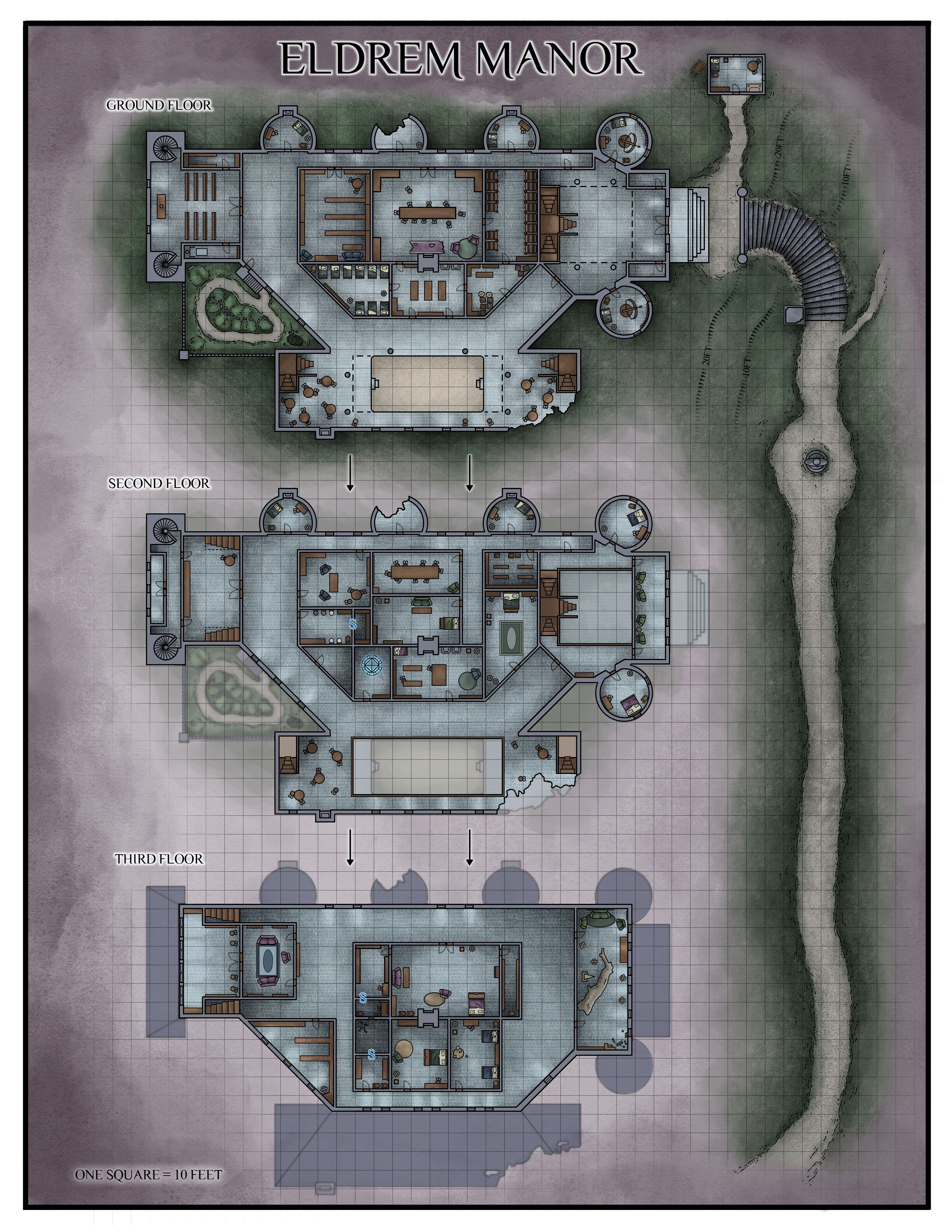 Manor Dnd Map : manor, Fantasy, Tabletop, Maps,, Dungeon