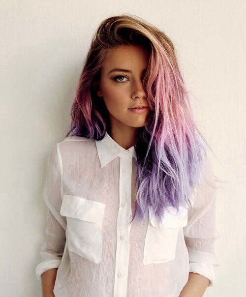 Brown To Pink To Purple Ombre Dip Dye Hair Purple Ombre Hair