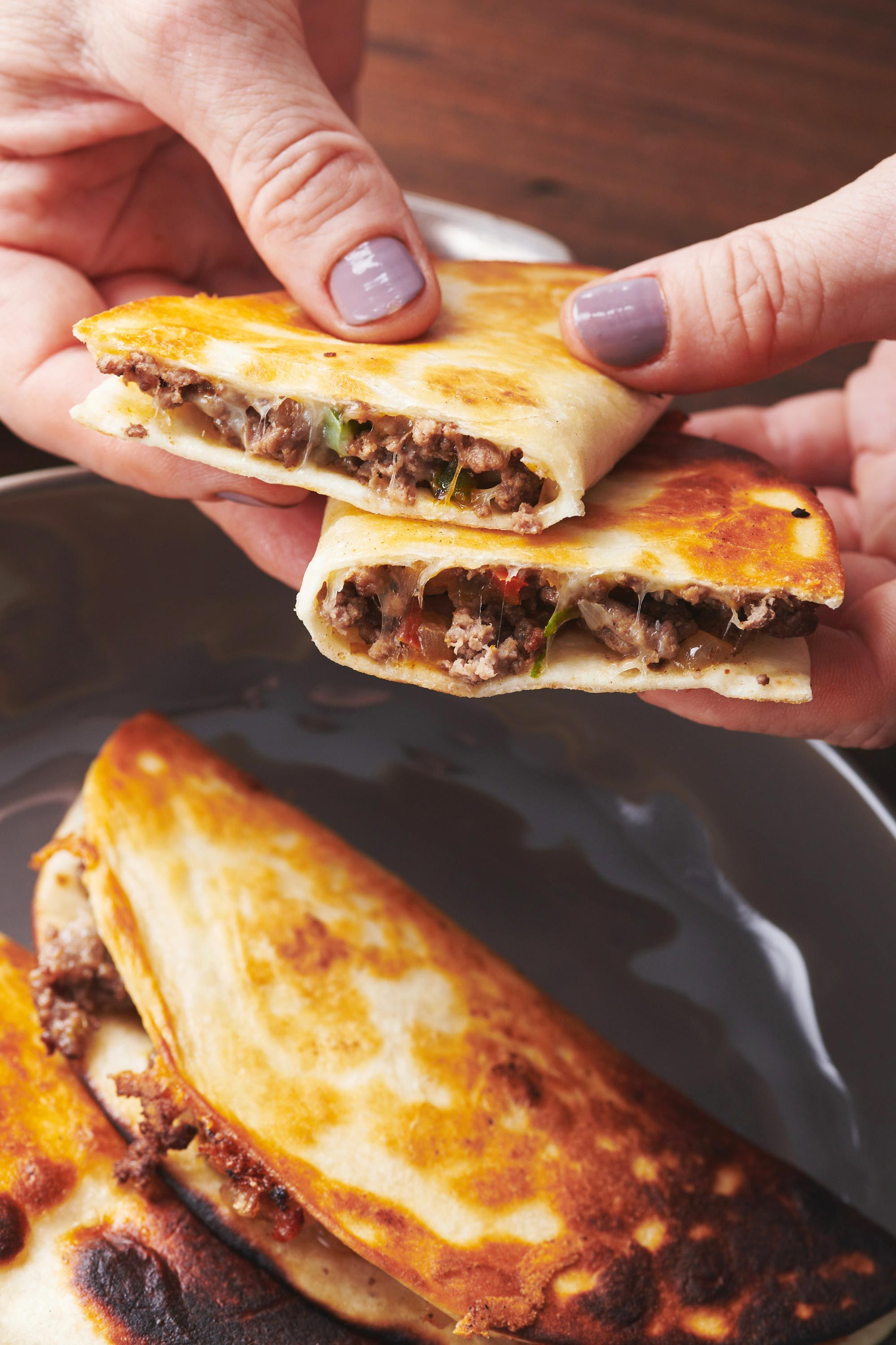 Cheesy Ground Beef And Vegetable Quesadillas Recipe In 2020 Recipes Food Beef Dishes
