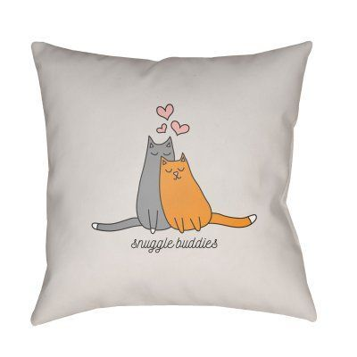 Surya Cat Snuggle Buddies Outdoor Pillow - HEART021-1818