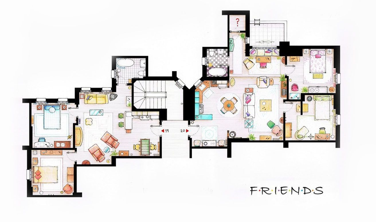 How Tv S Greatest Apartments Are Really Laid Out Floor Plans Tv Show House Sims 4 House Plans