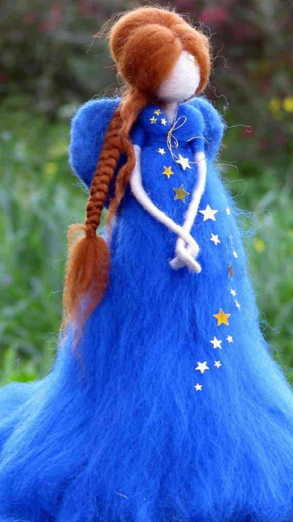 Christmas angel doll, Fairy Needle felted Waldorf Decoration, Art doll, Tree topper #dollsneedlefelt