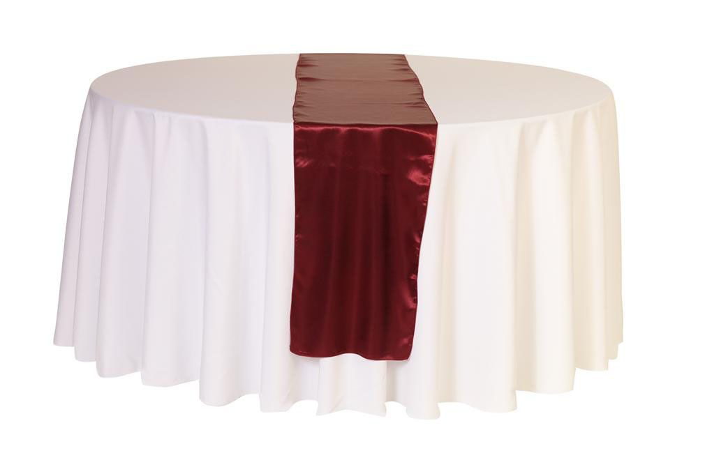 Bridal Tablecloths   14 X 108 Inch Satin Table Runner Burgundy