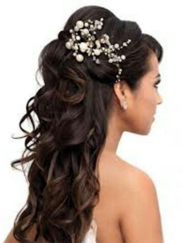 Wedding half updos cute curls in half updo wedding wedding day