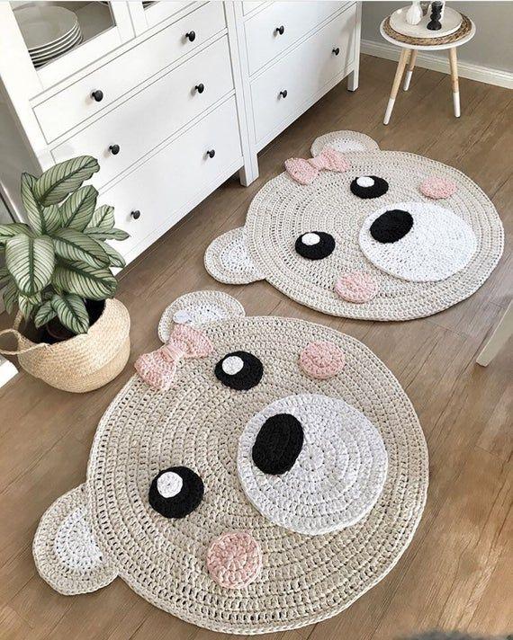 "Bear Rug Beige/pink ""bear girl"" kids room rug Crochet"
