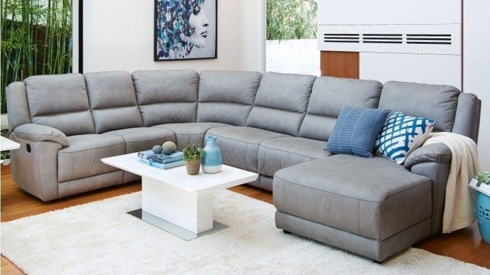 Sophia Fabric Corner Modular Recliner Lounge Suite with Sofa Bed ...