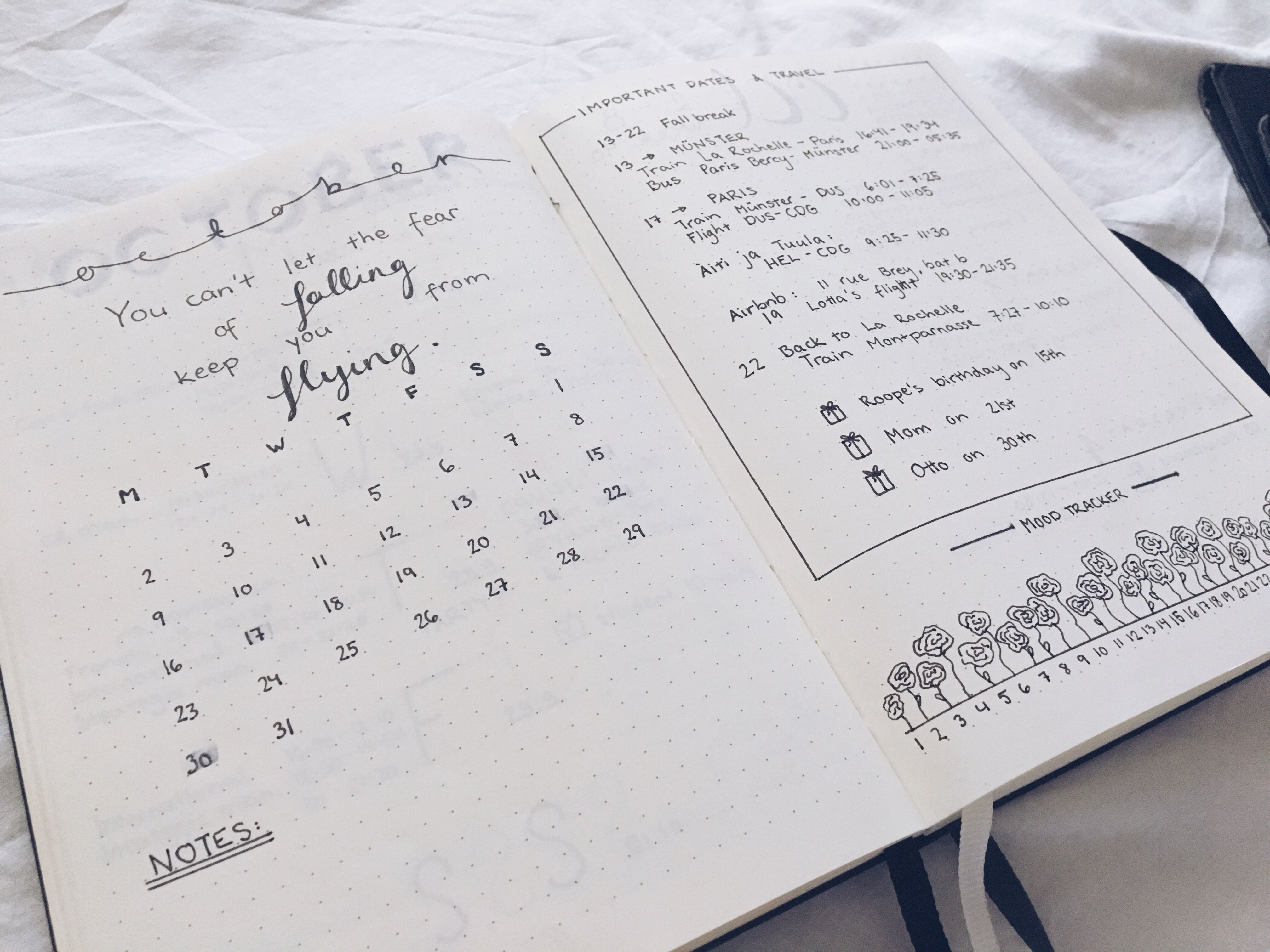 Monthly view for October, Bullet point journal, Bujo, Mood