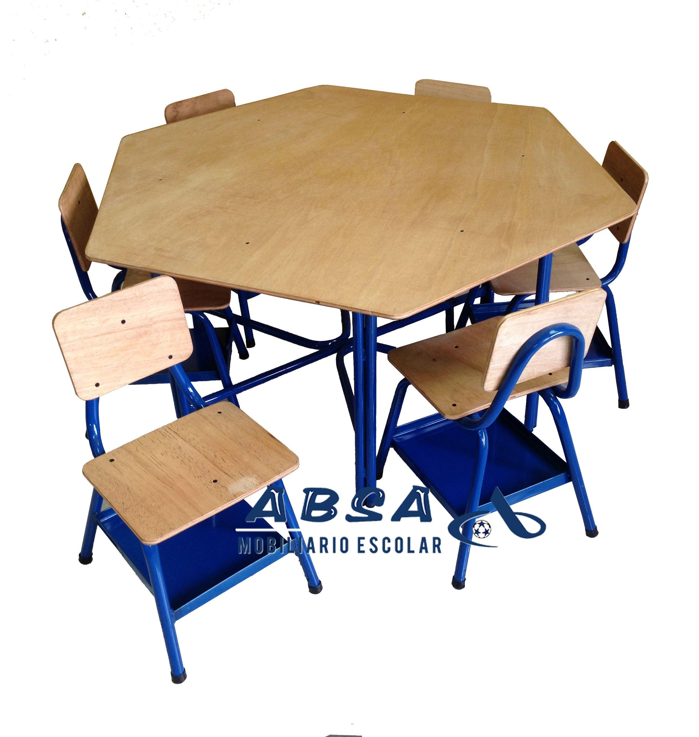 Mesa Hexagonal Para Seis Alumnos Barnizado Muebles Escolares  # Muebles Pupitres Escolares