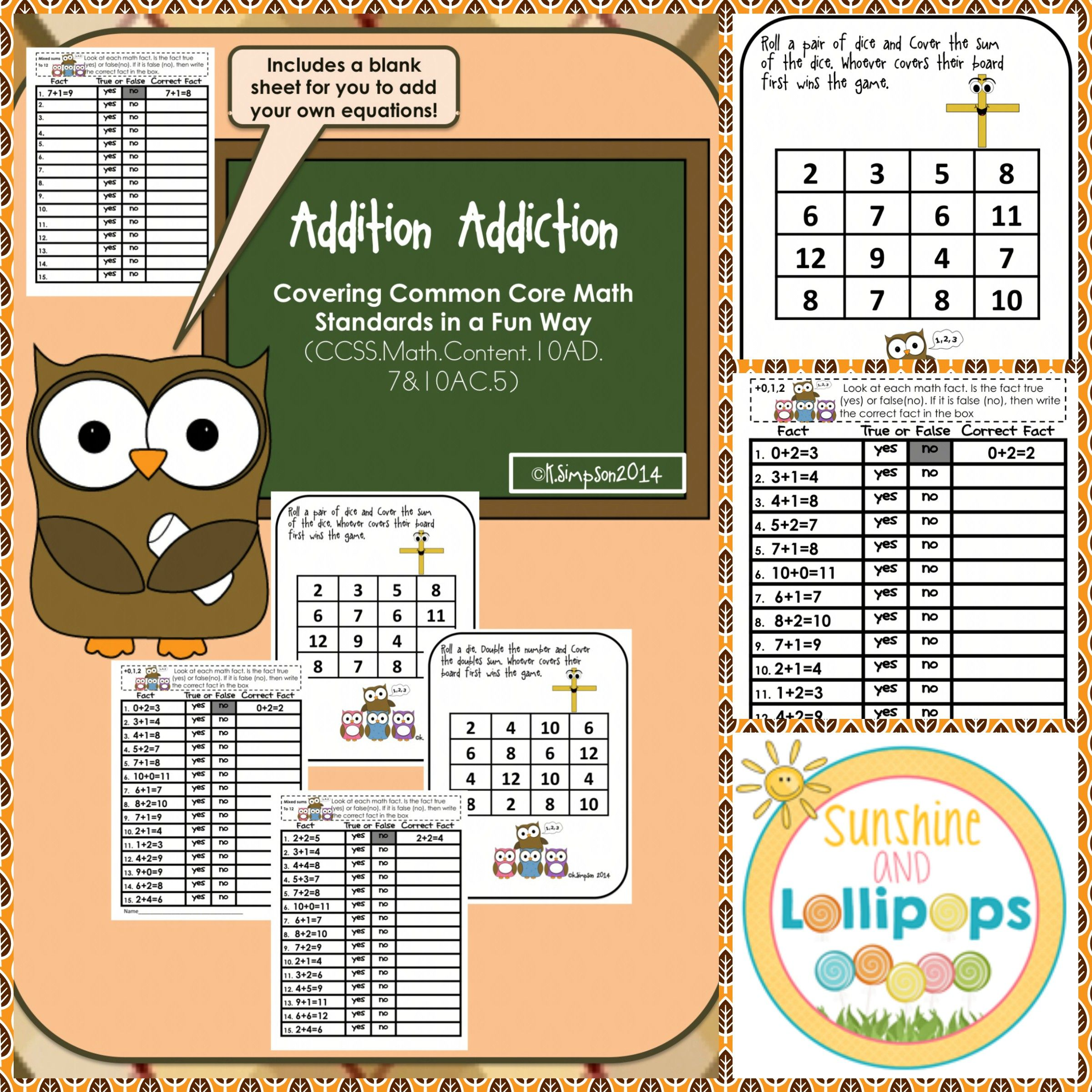 Math Addition Games Centers And Worksheets Aligned With