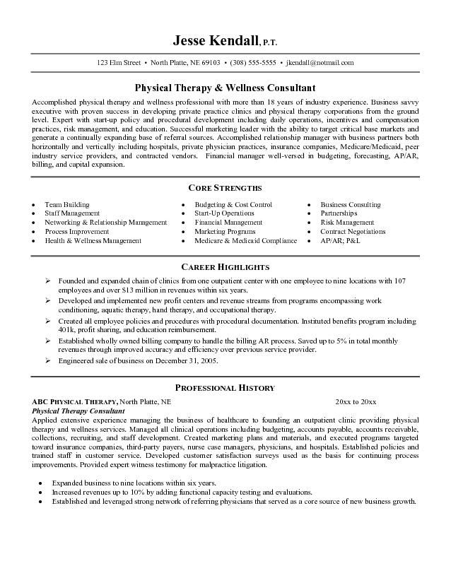 resume objective for healthcareResume Example Resume Example - physical therapist sample resume