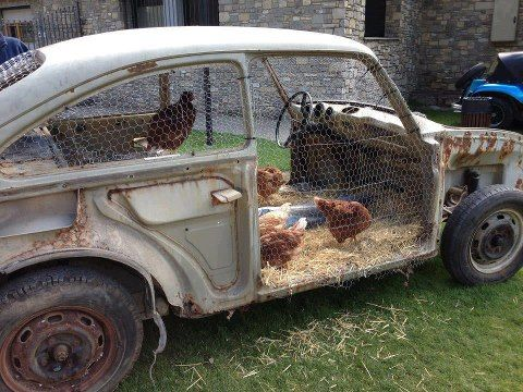 old broken down car upcycled into a chicken coop love outdoor