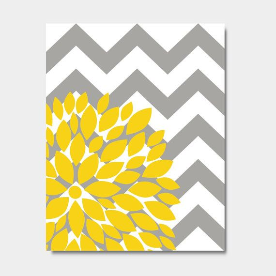 "Yellow And Grey Wall Art flower bursts botanical print -11"" x 14"" // grey chevrons and"