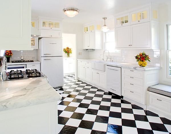 Delightful Glass Tile Floors, Carrera Counters And Vintage Appliances.