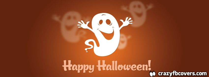 Cute Ghost Happy Halloween Facebook Cover Facebook Timeline Cover
