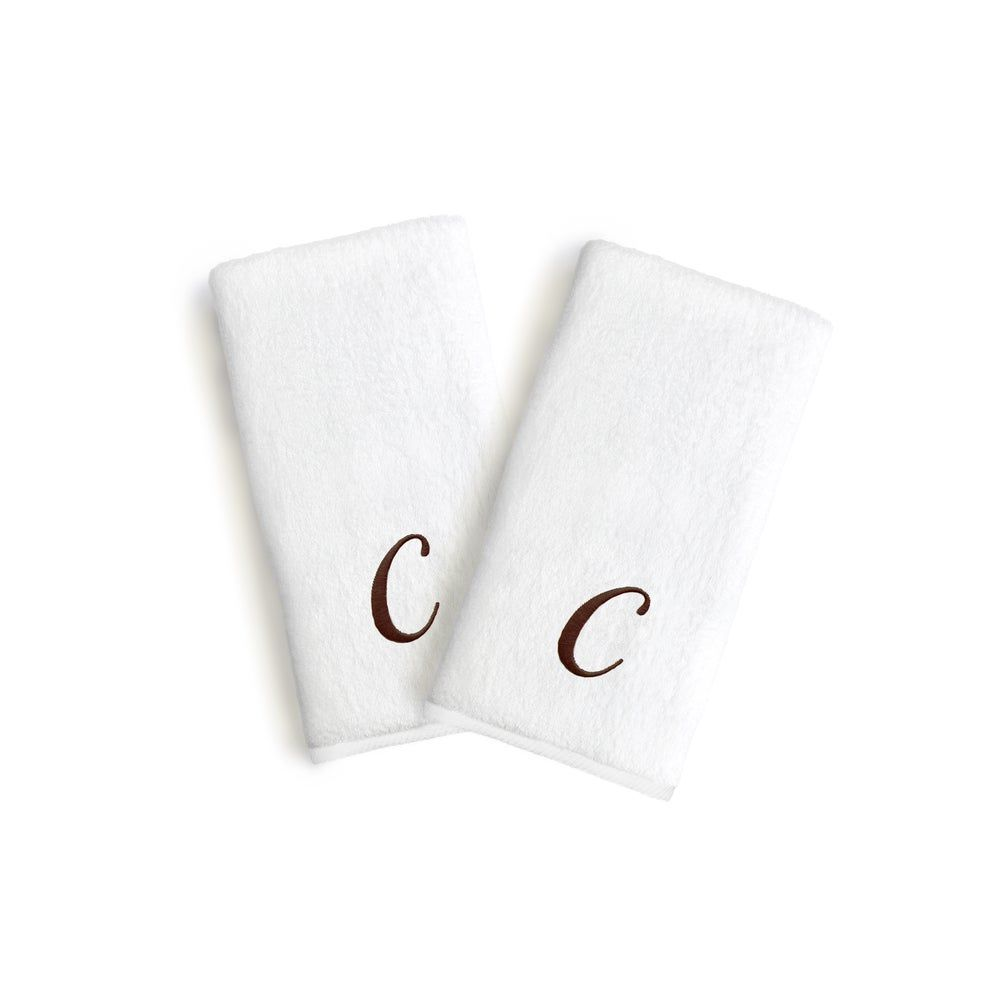 Authentic Hotel and Spa 2-piece White Turkish Cotton Hand Towels with Brown Script Monogrammed Initial (L)