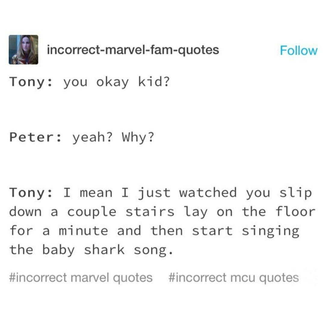 Baby Shark Dududu Marvel In 2020 Marvel Funny Marvel Jokes Marvel Quotes