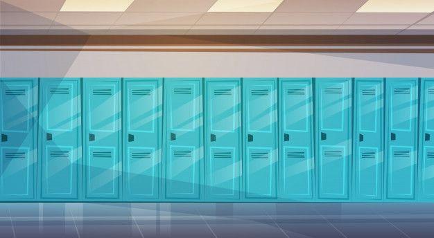 Interior Del Pasillo De La Escuela Vacía Con Fila De Taquillas