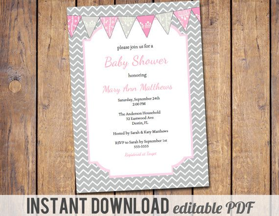 instant download, editable PDF Baby Girl Shower Invitation with chevron, Baby Shower Invite, mod invite, pink and grey baby shower Invites
